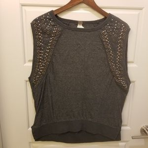 Free People Gray Beaded Rocker Shirt XS